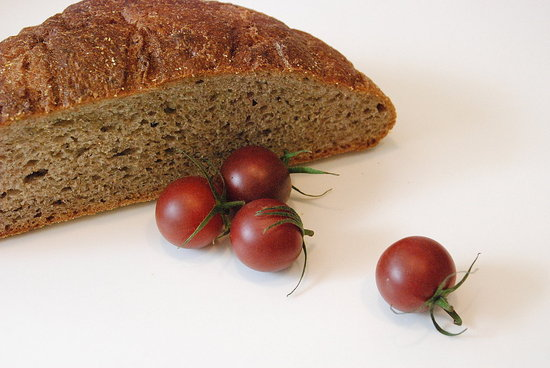 bread and cherry tomatoes