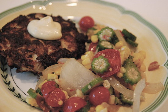 crab cakes and saute of okra, tomatoes, and bacon