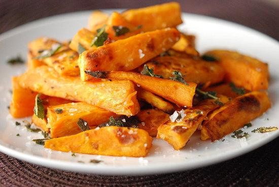 Sweet Potato Fries with Garlic & Crispy Sage | Fresh Tart (Paleo, AIP)