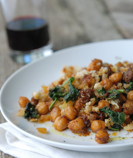 Fried Chickpeas with Chorizo & Spinach