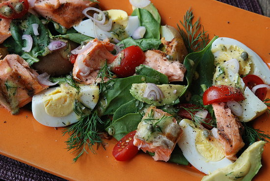 grilled salmon salad with greens avocado