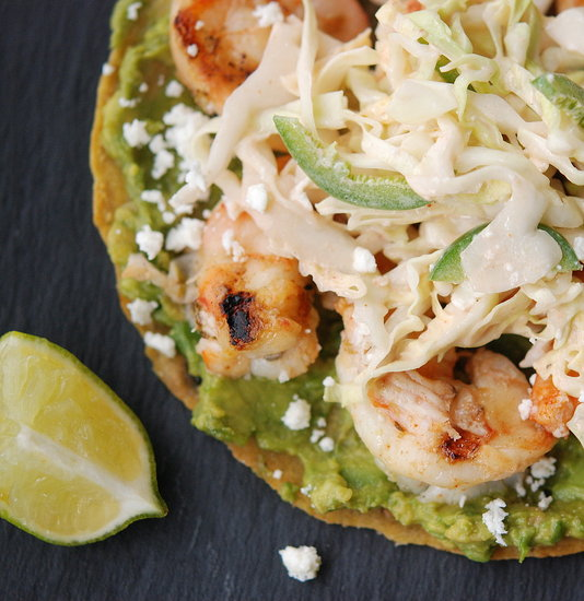 grilled shrimp tostadas with spicy slaw