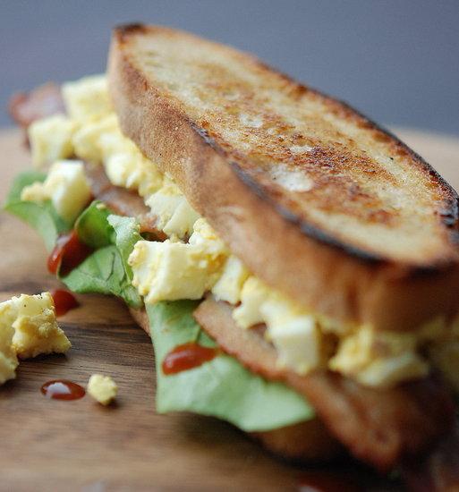 egg salad, bacon, arugula sandwich