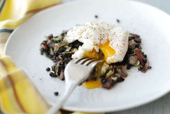 poached egg lentils bacon cabbage