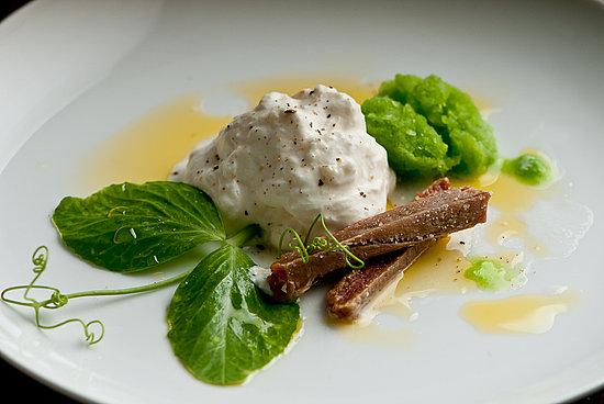 burrata with frozen pea puree, bottarga & oilo verde