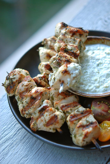 foxy falafel herby chicken skewers