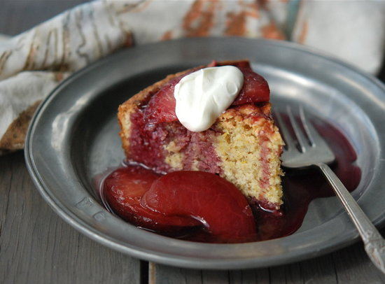 almond organge cake w plum compote