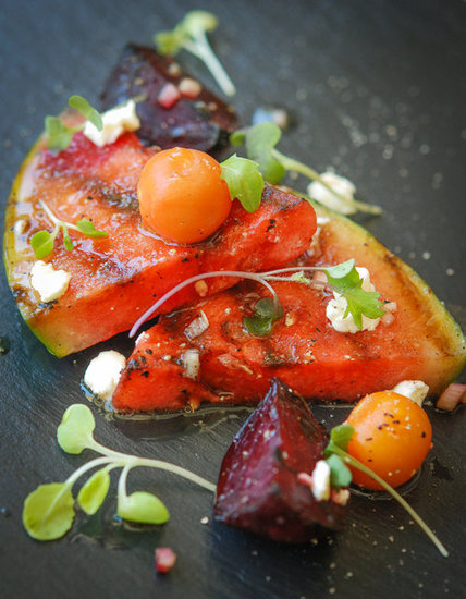 watermelon salad with heairloom tomatoes & charred beets jorge guzman stephanie meyer fresh tart
