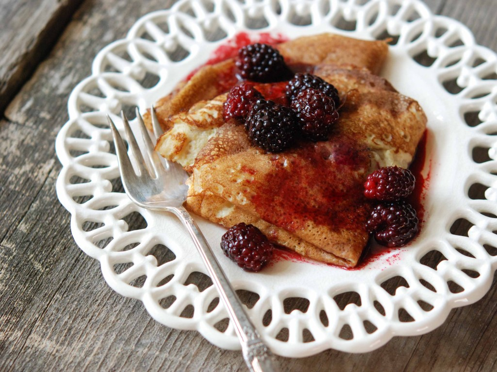 Crepes (gluten-free, grain-free) with Browned Butter Berries
