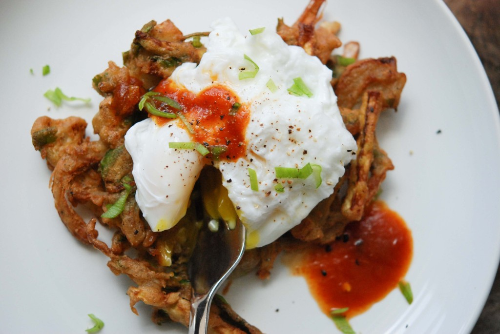 Pakora with a Poached Egg