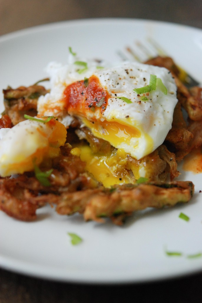 Pakora (Chickpea Vegetable Fritters) with Poached Eggs