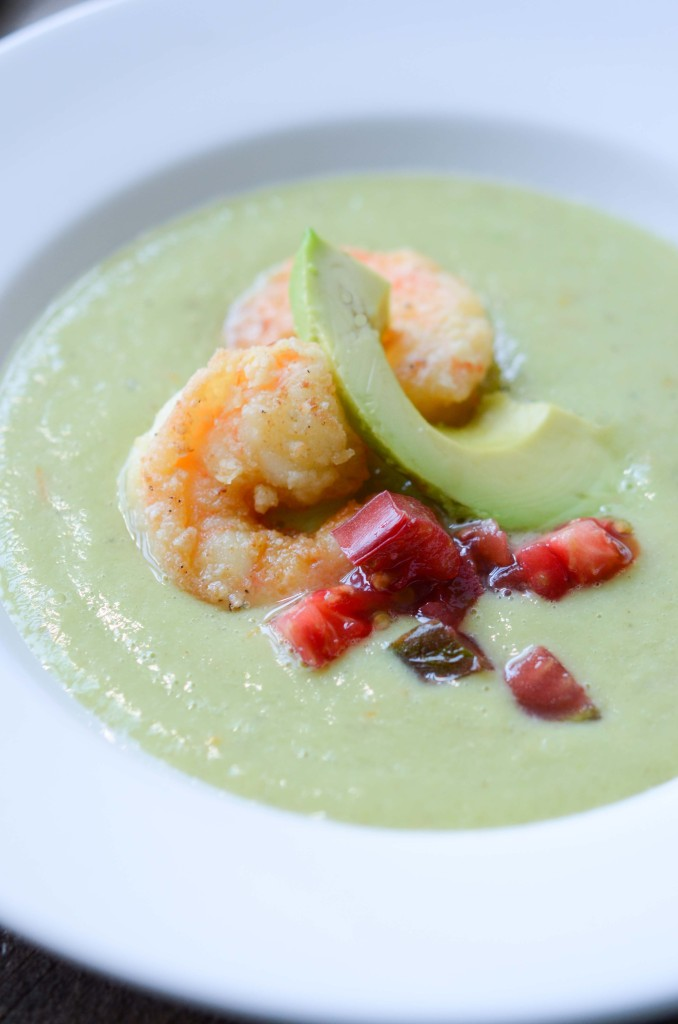 Green Gazpacho with Fried Shrimp