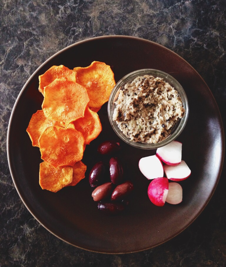 AIP Snack Plate of Sweet Potato Chips, Olives, Radishes, Tonnato