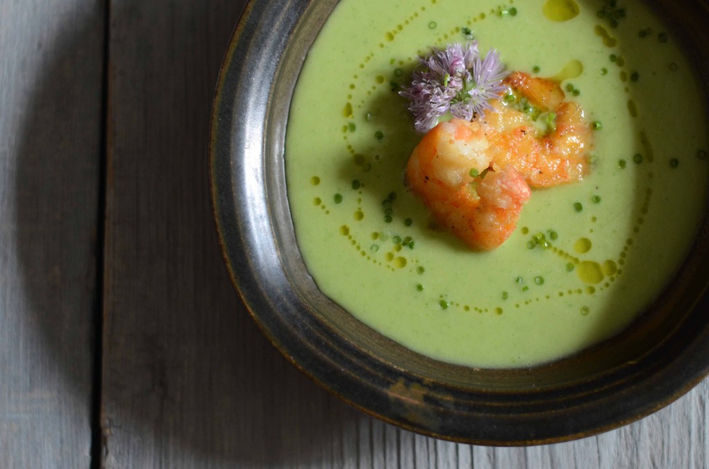 Cauliflower-Leek Soup with Crispy Shrimp | Fresh Tart (AIP, Paleo)