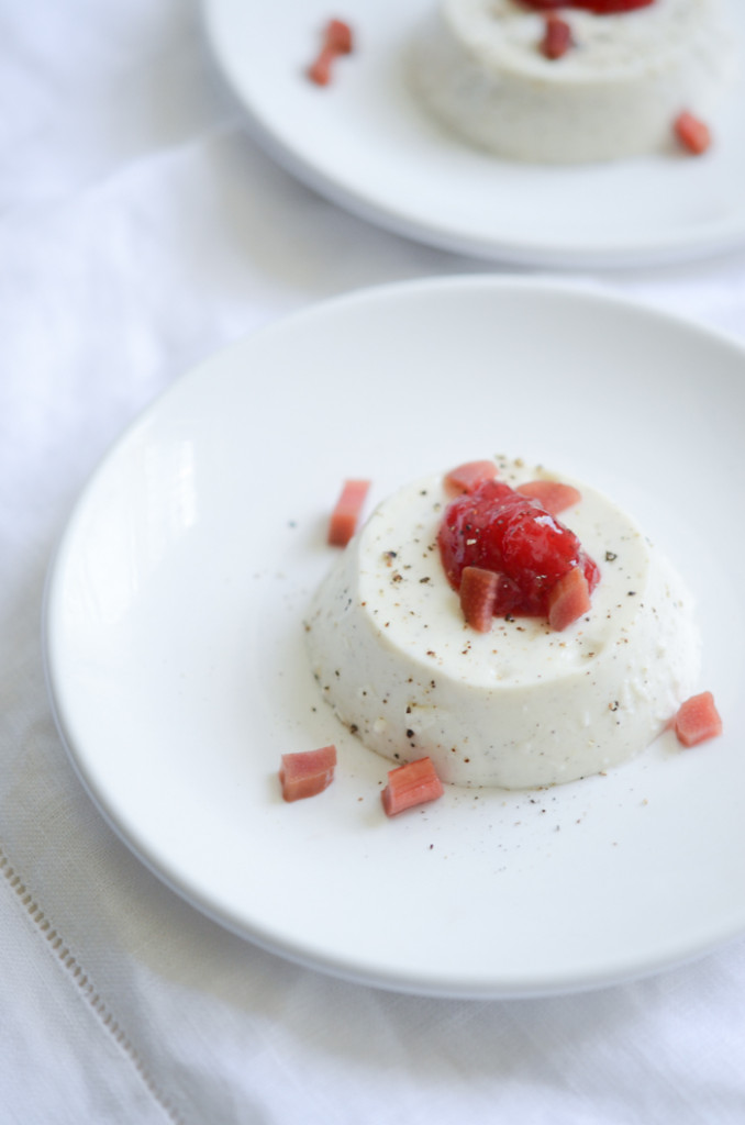 Kefir Maple Bourbon Panna Cotta  with Strawberry Jam & Black Pepper